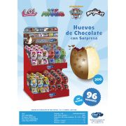 Huevos de chocolate COOL CANDIES expositor 96 unidades
